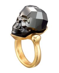 Uno De 50 - Gray Gold-plated Faceted Swarovski Crystal Mc Glamer Ring - Lyst