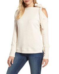 Caslon - Natural Caslon Tie Cold Shoulder Sweatshirt - Lyst