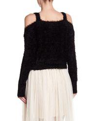 BB Dakota - Black Fuzzy Knit Cropped Cold Shoulder Sweater - Lyst