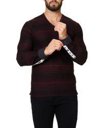 Maceoo - Black V-neck Long Sleeved Shirt for Men - Lyst