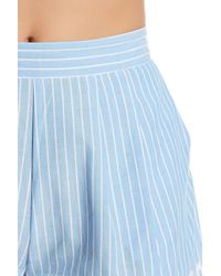Romeo and Juliet Couture - Blue Pleated Stripe Short - Lyst