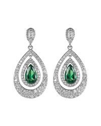CZ by Kenneth Jay Lane | Metallic Multi-cz Pear Pave Drop Earrings | Lyst