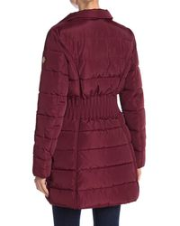 Laundry by Shelli Segal - Red Windbreaker Faux Fur Trim Puffer - Lyst