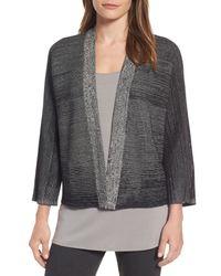 Eileen Fisher - Black Textured Silk & Organic Cotton Cardigan - Lyst