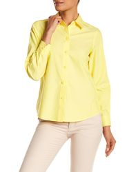 Foxcroft - Yellow Long Sleeve Shaped Diane Shirt - Lyst