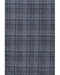 John Varvatos - Blue Long Sleeve Slim Fit Plaid Shirt for Men - Lyst