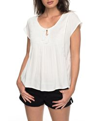 Roxy - White Electric Fling Smocked Top - Lyst
