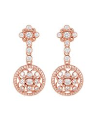Judith Ripka - White Rose Gold Plated Sterling Silver Bezel Set Cz Halo Drop Earrings - Lyst
