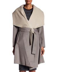 Diane von Furstenberg - Multicolor Two Tone Double Face Wool Blend Wrap Coat - Lyst