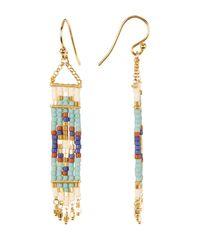 Chan Luu - Metallic 18k Gold Plated Sterling Silver Beaded Tapestry Dangle Earrings - Lyst