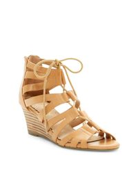 Restricted - Natural Downey Lace-up Wedge Sandal - Lyst