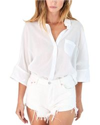 Free People White Best Of Me Button Down Shirt
