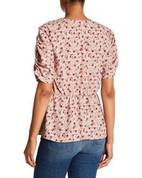 Pleione - Pink Printed Wrap Style Blouse - Lyst
