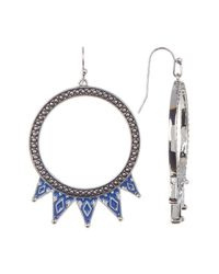 Jessica Simpson - Multicolor Pattern Detail Hoop Drop Earrings - Lyst