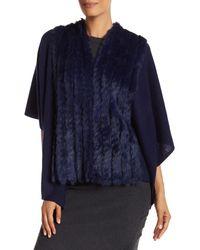In Cashmere | Blue Genuine Rabbit Fur Wool Blend Cape | Lyst