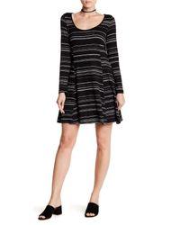 Lush - Black Long Sleeve Swing Dress - Lyst