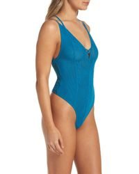 Free People - Blue Intimately Fp Kisses On My Cheeks Thong Bodysuit - Lyst
