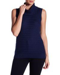 St. John - Blue Cowl Neck Surrey Knit Wool Sleeveless Pullover - Lyst