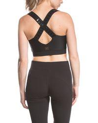 Lime & Vine Black Kathleen Zip Front Criss-cross Back Sports Bra