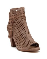 Vince Camuto - Brown Kamey Perforated Suede Open Toe Bootie - Lyst