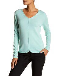 Lafayette 148 New York | Blue V-neck Rolled Hem Cashmere Sweater | Lyst