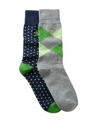 Original Penguin - Green Kennedy & Gabriel Crew Socks - Pack Of 2 for Men - Lyst