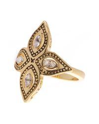 Ariella Collection - Metallic Leaf Stone Ring - Lyst