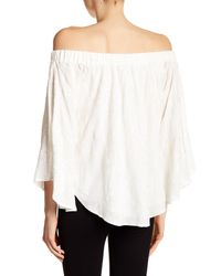 Karen Kane White Embroidered Off-the-shoulder Blouse