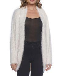 BB Dakota - White Fuzzy Knit Open Face Cardigan - Lyst