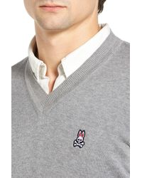 Psycho Bunny - Gray V-neck Sweater for Men - Lyst