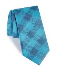 Calibrate - Blue Tigrane Check Silk & Cotton Tie for Men - Lyst