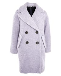 TOPSHOP - Gray Alicia Boucle Slouch Coat - Lyst