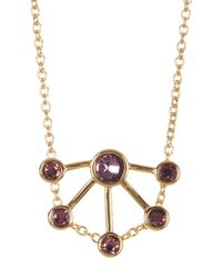 Rebecca Minkoff - Multicolor Gem Stone Fan Pendant Necklace - Lyst