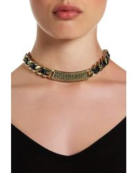 House of Harlow 1960 - Metallic Studded Bar & Faux Leather Weaved Rolo Chain Necklace - Lyst