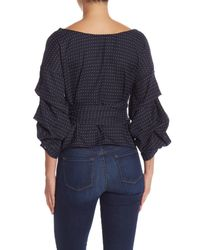Do+Be Collection - Blue Dot Gathered Sleeve Knit Blouse - Lyst