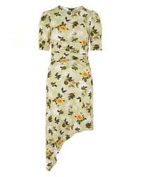 TOPSHOP - Green Ruched Floral Print Midi Shift Dress - Lyst