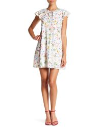 Cece by Cynthia Steffe - White Alessa Short Sleeve Floral Print Front Tie Dress (petite) - Lyst