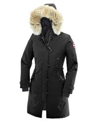 Canada Goose - Black 'kensington' Slim Fit Down Parka With Genuine Coyote Fur Trim - Lyst