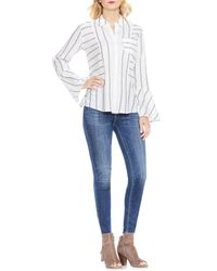 Two By Vince Camuto - White Bell Sleeve Stripe Shirt - Lyst
