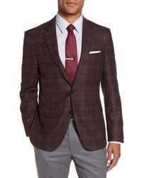 BOSS - Brown T-heel Trim Fit Plaid Wool & Silk Sport Coat for Men - Lyst