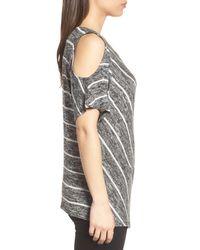 Chaus - Black Cold Shoulder Marled Stripe Top - Lyst