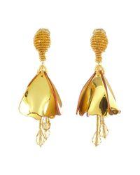 Oscar de la Renta - Metallic Small Impatiens Flower Drop Swarovski Crystal Embellished Clip-on Earrings - Lyst