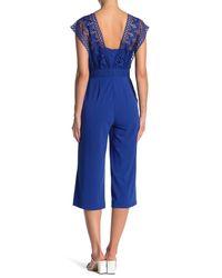 Spense - Blue Crochet Bodice Crepe Jumpsuit - Lyst