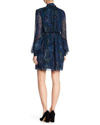 Laundry by Shelli Segal - Blue Long Sleeve Printed Ruffle Dress - Lyst
