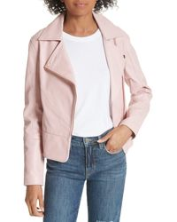 fcdc361a5 Lyst - Ted Baker Lizia Minimal Biker Jacket in Pink