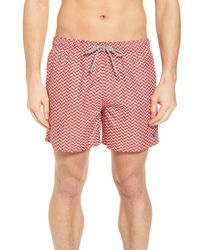 Ted Baker Red Caven Geo Print Swim Trunks for men