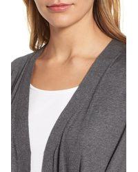 Eileen Fisher - Gray Tie Waist Blend Cardigan - Lyst