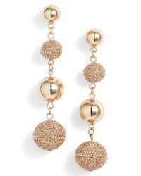 Rebecca Minkoff - Metallic Statement Pave Sphere Drop Earrings - Lyst