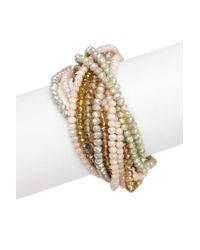 Saachi - Metallic Champagne Glass Crystal Bundle Bracelet - Lyst