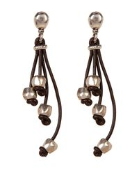 Uno De 50 - Brown Pum-pum Multi-strand Leather Earrings - Lyst
